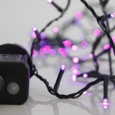 240 led Χριστουγεννιάτικα λαμπάκια (φωτάκια) μώβ χρώμα σε σειρά με πρόγραμμα και πράσινο καλώδιο 1495cm στεγανά IP44