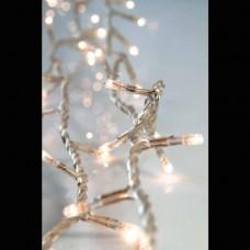 Χριστουγεννιάτικα 100 led θερμά λευκά λαμπάκια (φωτάκια) μη στεγανά IP20 ανά 5cm με επέκταση και διάφανο καλώδιο 670cm