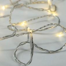Χριστουγεννιάτικα 20 θερμά led λαμπάκια (φωτάκια) μπαταρίας 3ΑΑ στεγανά IP44 8 προγράμματα χρονοδιακόπτη και διάφανο καλώδιο 240cm