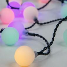 Χριστουγεννιάτικες 80 led μπάλες Φ2cm λαμπάκια (φωτάκια) χρωματιστά (πολύχρωμα) επέκταση με πράσινο καλώδιο 1110cm στεγανά IP44