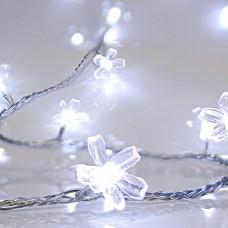 Χριστουγεννιάτικα 80 led λαμπάκια (φωτάκια) ψυχρό χρώμα με σχέδιο λουλούδια σιλικόνης επέκταση και διάφανο καλώδιο 1090cm στεγανά IP44