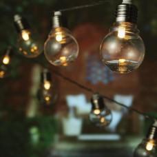 Χριστουγεννιάτικα led λαμπάκια (φωτάκια) θερμό χρώμα με σχέδιο σφαιρική λάμπα 8cm επέκταση και διάφανο καλώδιο στεγανά IP44