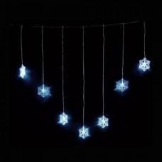 Χριστουγεννιάτικη led κουρτίνα (βροχή) με 7 χιονονιφάδες ψυχρά λαμπάκια (φωτάκια) έως 90cm επέκταση και διάφανο καλώδιο 105cm στεγανή IP44
