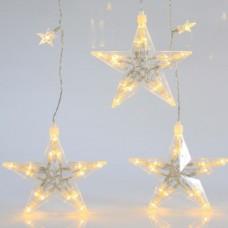 Χριστουγεννιάτικη κουρτίνα (βροχή) με 130 led λαμπάκια στα 29 αστέρια θερμό λευκό 120cm x 100cm επέκταση και διάφανο καλώδιο στεγανή IP44
