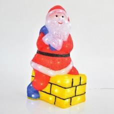 Χριστουγεννιάτικος (Άγιος) Άι Βασίλης σε καμινάδα διακοσμητικός φωτιζόμενος 60cm ακρυλικός 3D με 80 ψυχρά λευκά led στεγανός αδιάβροχος IP44
