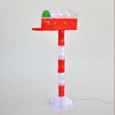 Χριστουγεννιάτικο γραμματοκιβώτιο ακρυλικό διακοσμητικό φωτιζόμενο 60cm 3D με 50 ψυχρά λευκά led στεγανό αδιάβροχο IP44