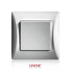 Διακόπτης χωνευτός μονός απλός ασημί νίκελ ματ χρώμα σειρά lineme
