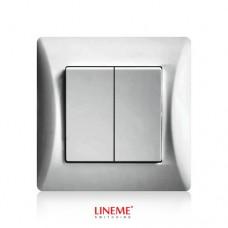 Διακόπτης χωνευτός διπλός (κομμιτατέρ) K/R ασημί νίκελ ματ χρώμα σειρά lineme