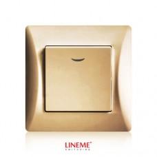 Διακόπτης χωνευτός μονός ακραίος αλέ ρετούρ A/R φωτιζόμενος με λυχνία led χρυσό ματ χρώμα σειρά lineme