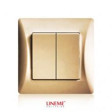 Διακόπτης χωνευτός διπλός (κομμιτατέρ) K/R χρυσό ματ χρώμα σειρά lineme