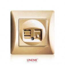 Πρίζα χωνευτή μονή τηλεφώνου RJ11 (ΟΤΕ) χρυσό ματ χρώμα σειρά lineme