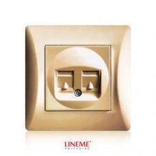 Πρίζα χωνευτή διπλή τηλεφώνου RJ11 (ΟΤΕ) χρυσό ματ χρώμα σειρά lineme