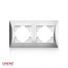 Πλαίσιο 2 (δύο) θέσεων οριζόντιο νίκελ ματ ασημί χρώμα σειρά lineme