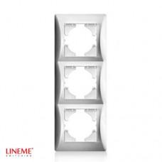 Πλαίσιο 3 (τριών) θέσεων κάθετο νίκελ ματ ασημί χρώμα σειρά lineme
