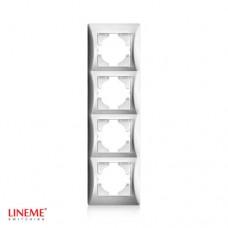 Πλαίσιο 4 (τεσσάρων) θέσεων κάθετο νίκελ ματ ασημί χρώμα σειρά lineme
