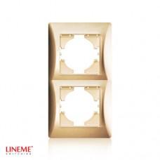 Πλαίσιο 2 (δύο) θέσεων κάθετο χρυσό ματ χρώμα σειρά lineme