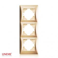 Πλαίσιο 3 (τριών) θέσεων κάθετο χρυσό ματ χρώμα σειρά lineme