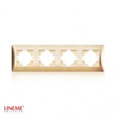 Πλαίσιο 4 (τεσσάρων) θέσεων οριζόντιο χρυσό ματ χρώμα σειρά lineme