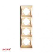 Πλαίσιο 4 (τεσσάρων) θέσεων κάθετο χρυσό ματ χρώμα σειρά lineme