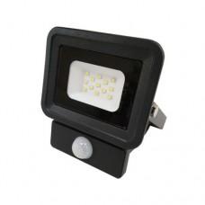 Προβολέας led 10W smd ενδιάμεσο λευκό 4000Κ με ανιχνευτή φωτοκύτταρο κίνησης slim τύπου tablet αλουμινίου μαύρος στεγανός αδιάβροχος IP65 950lumens