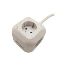 Πολύπριζο κύβος 4 θέσεων σούκο δύο (2) θύρες USB 2,1A και 1,5m καλώδιο 3 x 1,5mm διατομή
