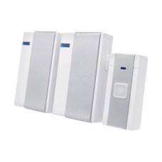 Κουδούνι ασύρματο διπλό λευκό ασημί με 36 μελωδίες led λαμπάκι 65-85dB επίπεδο ήχου και απόσταση λειτουργίας έως 80 μέτρα