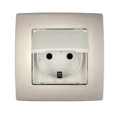 Πρίζα σούκο χωνευτή με καπάκι 16A για κουζίνες μπαλκόνια τουαλέτες σαμπανιζέ μεταλλικό χρώμα σειρά city