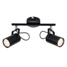 Φωτιστικό σπότ (spot) μπάρα (ράγα) οροφής δίφωτo 2 x GU10 χρώματος μαύρο σειρά IZZY μεταλλικό 25cm x 18cm