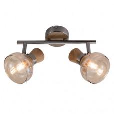 Φωτιστικό οροφής ράγα δίφωτο μπάρα σποτ (spot) με ντουί E14 x 2 σειρά Addy μεταλλική με γυαλί χρώματος ξύλο 28cm x 15cm
