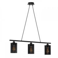Φωτιστικό τρίφωτο ράγας κρεμαστό μεταλλικό διάτρητο με στρογγυλά ντουί E27 x 3 χρώματος μαύρο 78cm x 85cm
