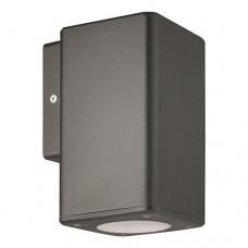 Φωτιστικό σπότ απλίκα τοίχου πλαστική GU10 μονής δέσμης down τετράγωνη χρώματος γραφίτης 14,8cm στεγανή IP65 εξωτερικού χώρου