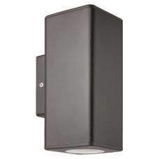 Απλίκα τοίχου σποτ φωτιστικό πλαστική GU10 διπλής δέσμης πάνω κάτω (up down) τετράγωνη χρώματος γραφίτης 18,6cm στεγανή IP65 εξωτερικού χώρου