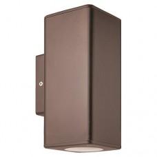 Απλίκα τοίχου χρώματος αντικέ χαλκού σποτ φωτιστικό πλαστικό GU10 διπλής δέσμης πάνω κάτω (up down) τετράγωνο 18,6cm στεγανό IP65 εξωτερικού χώρου