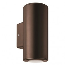 Φωτιστικό απλίκα τοίχου πλαστική GU10 διπλής δέσμης πάνω κάτω (up down) στρογγυλή χρώματος αντικέ χαλκού 18,6cm στεγανή IP65 εξωτερικού χώρου