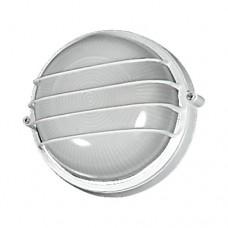 Φωτιστικό απλίκα και πλαφονιέρα στρογγυλή τοίχου οροφής Φ18cm λευκό χρώμα μεταλλικό με γραμμές E27 εξωτερικού χώρου στεγανό IP44