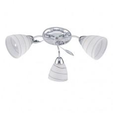 Φωτιστικό οροφής τρίφωτο σποτ (spot) με ντουί E14 x 3 μεταλλικό χρώματος χρώμιο ασημί και γυαλί 50cm x 20cm