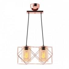 Φωτιστικό δίφωτο κρεμαστό πολύφωτο μεταλλικό με γυαλί χρώματος αντικέ χαλκού 33cm x 20cm x 20cm και ντουί Ε27 x 2 για λάμπες Led Edison