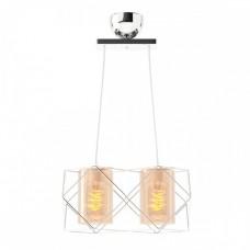 Φωτιστικό δίφωτο κρεμαστό πολύφωτο μεταλλικό με γυαλί χρώματος ασημί χρώμιο inox 33cm x 20cm x 20cm και ντουί Ε27 x 2 για λάμπες Led Edison
