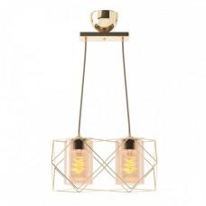 Κρεμαστό φωτιστικό δίφωτο πολύφωτο μεταλλικό με γυαλί χρώματος χρυσό 33cm x 20cm x 20cm και ντουί Ε27 x 2 για λάμπες Led Edison