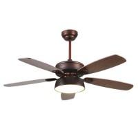 Ανεμιστήρας οροφής χαμηλού θορύβου 70W πολυτελείας χρώματος καφέ πατίνα καφέ κερασιά Φ130cm 1 φως led 18W 5 φτερωτές και κοντρόλ (τηλεχειριστήριο)