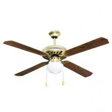 Ανεμιστήρας οροφής 60W τύπου vintage χρώματος χρυσό με ξύλινο καφέ διακοσμητικός μονόφωτος 1 x E27 διάμετρος Φ130cm 3 ταχύτητες και 4 φτερωτές