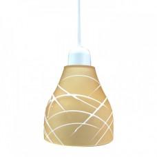 Μονόφωτο στενό φωτιστικό με ντουί 1 x E27 γυαλί Φ14cm κρεμαστό χρώματος πορτοκαλί με λευκές γραμμές για λάμπες led