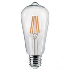 Λάμπα led filament 4W edison ψυχρό λευκό φως 6000Κ ST64 αβοκάντο διάφανο γυαλί Ε27 ευρείας δέσμης 360° 500 lumen 230V
