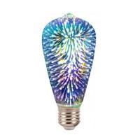 Λάμπα led filament edison ST64 αβοκάντο 7W διακοσμητική fiber 3D Ε27 ευρείας δέσμης 360° 230V πολύχρωμο φως