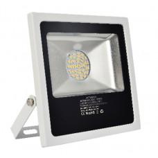 Προβολέας led 30W με Samsung smd 4000 lumen θερμό λευκό φώς 3000Κ αλουμινίου χρώματος λευκό 265V στεγανός αδιάβροχος IP65 22cm x 22cm x 5cm
