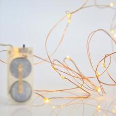 12 Χριστουγεννιάτικα μίνι slim θερμά led λαμπάκια (φωτάκια) σε σειρά μπαταρίας πλακέ 2 x CR2032 μη στεγανά IP20 και χάλκινο μπρονζέ καλώδιο 120cm