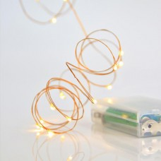 20 Χριστουγεννιάτικα μίνι slim θερμά led λαμπάκια (φωτάκια) σε σειρά μπαταρίας 3 x AA μη στεγανά IP20 και χάλκινο μπρονζέ καλώδιο 200cm