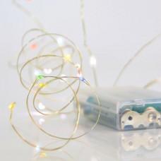 20 Χριστουγεννιάτικα led μίνι slim χρωματιστό πολύχρωμο φως λαμπάκια (φωτάκια) σε σειρά μπαταρίας 3 x AA IP20 και χάλκινο ασημί καλώδιο 200cm