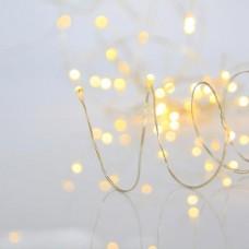 50 Χριστουγεννιάτικα μίνι slim θερμά led λαμπάκια (φωτάκια) σε σειρά μπαταρίας 3 x AA μη στεγανά IP20 και χάλκινο ασημί καλώδιο 500cm