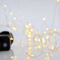 100 Χριστουγεννιάτικα mini slim led λαμπάκια (φωτάκια) θερμό λευκό φως σε σειρά με πρόγραμμα και χάλκινο ασημί καλώδιο 1500cm στεγανά IP44